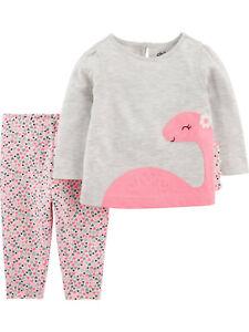Carter's Baby Girl Toddler Long Sleeve Dinosaur 2pc Top/Leggings Set 0-3M 18M 4T