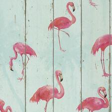 BIRDS TEAL & PINK FLAMINGO QUALITY FEATURE DESIGNER VINYL WALLPAPER RASCH 479706