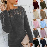 Women''s Autumn Winter Warm Sweater Tops Ladies Lace Jumper Pullover Plus Size