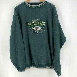 Midwest Embroidery Crewneck Sweater Men's 2XL Green Notre Dame Fighting Irish