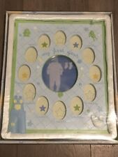 Nib Baby Essentials My First Year Baby Shower Frame in Blue and Green