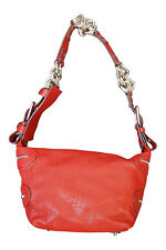 CHLOE Red Leather Shoulder Bag Chunky Silver Hardware  (M)