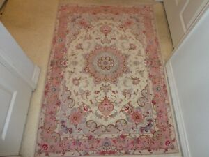 """Very Fine hand knotted Carpet  Silk and Wool 3' 5"""" X 5' 3"""" Beautiful rare Colors"""