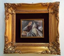 SMALL GILT FRAMED PAINTING UNDER CONVEX GLASS, SIGNED. VINTAGE