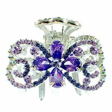 USA HAIR CLAW CLIP use Swarovski Crystal Hairpin Elegant Unique Purple New  K20