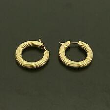 18ct yellow gold ribbed hoop earrings