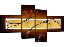 Large Brown Beige Gold Abstract Canvas Wall Pictures Art Prints 4090