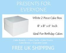 "10 x 8"" x 8"" x 6"" Inch White Cake Box Birthdays Weddings"