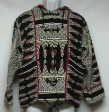 Women's Size Small Hooded Indian Blanket Coat Black Red Beige Southwest Design