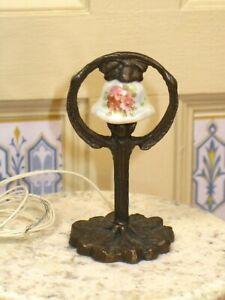 NiGlo Porcelain Hand Painted Bronze Table Lamp - Artisan Dollhouse Miniature