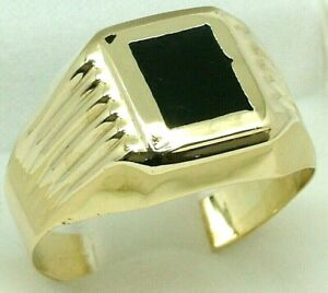 Stunning 14K Yellow Gold Onyx Men's Signet Dress Ring 14ct 585 - Bids From $1.00