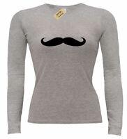 Damen Schnurrbart T-Shirt Nein Rasierer Schnurrbart November Damen Langarm Top
