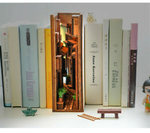 DIY Wooden Bookend Alley Bookshelf Street Bookcase Wooden Model with Light Gift