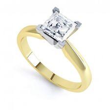 18 Ct Corte Princesa Anillo Solitario Diamante - Tradicional