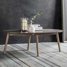 Retro Coffee Table Furniture Living Room Vintage Wooden Oval Faux Concrete Top
