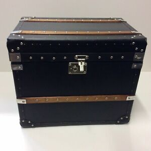 Pair Hand Crafted Leather Clad Trunks 24x20x16