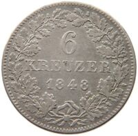 GERMAN STATES 6 KREUZER 1848 BAYERN  #re 207
