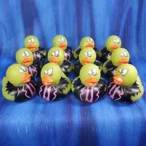 One Dozen 12 Pea Green Bleary Eyed Zombie Apocalypse Halloween Rubber Ducks NEW