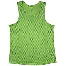 cf382114 Nike Men's large Dri Fit Running Tank Shirt Zigzag Green/Black 826051 702  Miler
