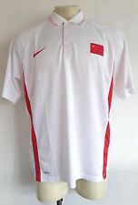 NIKE H7 Mens Team China Flag Olympic National White Fit Dry Polo Shirt Size 3XL