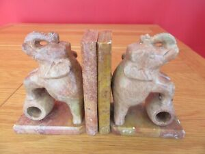 Hand Carved Natural marble/onyx Elephant Bookends very heavy