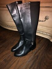 MICHAEL KORS Hamilton Tall Leather Riding Boot Boots BLACK Silver 6,5