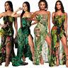 Summer Womens Bandeau Ruffle Floral Beach Cocktail Bodycon Club Dress Sleeveless
