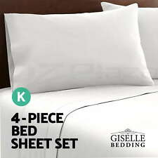 Soft Microfibre Bed Sheet Set Fitted Flat Pillow Case 4 Piece Mattress Protector White - King