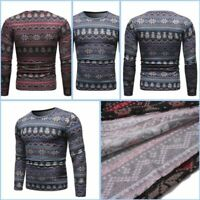 Tee Long Sleeve T-shirt Winter Slim Fit Casual Men's Warm Floral Crew Neck Tops