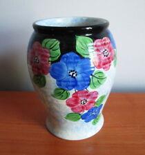 "Decoro Pottery Vase Sponged Blue Red Flowers 5 5/8"" Art Deco 1930s England"
