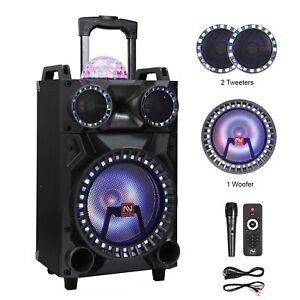 """12"""" Bluetooth Portable Party PA DJ Speaker Heavy Bass Subwoofer Lights MIC AUX"""