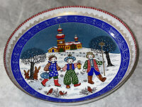 Vintage Steinbock Austria Metal Enamel Email Studio Small Christmas Winter Bowl