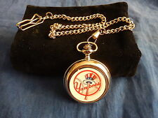 NEW YORK YANKEES BASEBALL NBA CHROME POCKET WATCH WITH CHAIN (NEW)