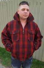 Vintage Mens Woolrich LumberJack Red Buffalo Plaid Full Zip Mackinaw Jacket