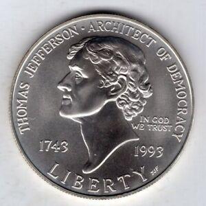 1993 Thomas Jefferson 250th Anniversary Commemorative Uncirculated Silver Dollar