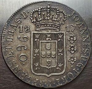 960 Reis 1817R João Prince Regent Brazil Crowned Arms Highly Grade !! KM# 307
