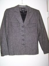 NY & CO Gray Tweed Jacket Misses 10 EUC Perfect Fall Accessory Lightweight Lined