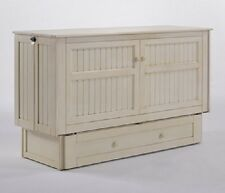 Night & Day Daisy buttercream Queen Murphy cabinet bed w gel mattress & tray set
