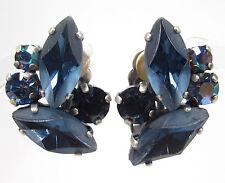 SoHo® Ohrclips navette handgemachte bohemia Glassteine Kristalle montana blau