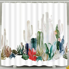 Large Cactus Shower Curtain Waterproof Polyester Fabric with Hooks Bathroom