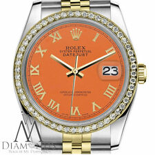 Unisex Rolex 36mm Datejust 2 Tone Orange Color Roman Numeral Dial Watch
