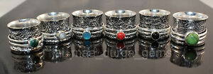 New PCs Lot Spinner Mix Stone 925 Silver Plated spinner Meditation Challa Ring
