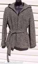 Gallery Collection Hoodie JACKET Wool Blend size Large Belted TWEED Winter COAT