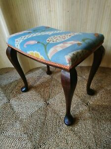 Fab Antique Georgian Style Vintage Dressing Table Piano Stool Cabriole Legs Blue
