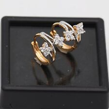 Charm Pretty Flower Chic Hoop Earring 18k Gold Plated White Zircon Earrings