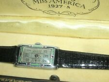 RARE DECO BULOVA 1927 FIRST GENERATION MISS AMERICA ENAMEL WATCH W/ORIGINAL BOX