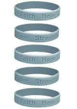 5 Brain Cancer Gray Silicone Awareness Bracelets - Medical Grade Silicone