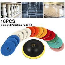 16PCS Diamond Polishing Marble Pads Wet Dry Set Kit For Granite Concrete 4 Inch