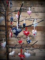 Scandi Nordic Fabric Hanging Heart Christmas Tree Decoration Celebration 3 Set