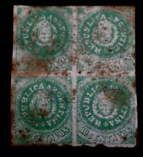 """1863 Argentina """"Seal of the Republic"""" 10 Centavos Imperfects Block 4v, Used ??*"""